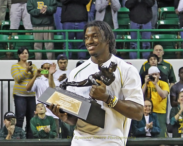 RG III at the recognition ceremony in the Ferrell Center. The event was held at half time during one of the men's basketball games.