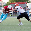 Globe|Israel Perez<br /> Webb City's Alex Gaskill (6) prepares for a tackle from Republic's Cooper Powell (43) during their game on Friday night at Cardinal Stadium in Webb City Mo.