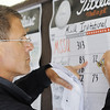 Globe/T. Rob Brown<br /> Twin Hills County Club professional Doug Adams marks the scoreboard totals following the MSSU Invitational Tuesday afternoon, April 16, 2013, at Twin Hills Country Club.