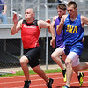Globe/T. Rob Brown<br /> Carl Junction's Alex McMullen leads the pack in the 200-meter preliminary during Carl Junction's track event Saturday, May 11, 2013.