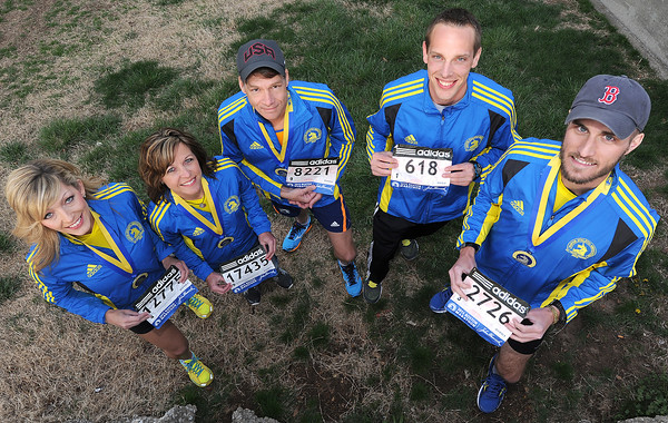 From the left: Ashleigh Beyersdorfer, Kathleen Wrensch, Ken Schramm, Scott Cichon and Nathan Sicher were all participants in last year's tragic Boston Marathon.<br /> Globe | Laurie Sisk.