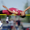 Joplin's xx xxx clears a height during the high jumpon Friday at JHS.<br /> Globe | Laurie Sisk
