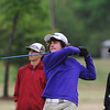 Globe/Roger Nomer<br /> Clayton Kaiser, Monett freshman, tees off during Monday's golf tournament in Carthage.