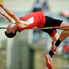 "Lamar's xx xx tries to clear 6'6"" in the high jump at the Gorilla Relays on Friday at Pittsburg State's Carnie Smith Stadium.<br /> Globe 
