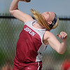 Joplin's Shelby Beaver puts the shot enroute to a first place finish on Friday at JHS.<br /> Globe | Laurie Sisk