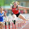 Carl JUnction's xx xx races for the finish line during the girls hurdles at the Gorilla Relays on Friday at Pittsburg State's Carnie Smith Stadium.<br /> Globe | Laurie Sisk