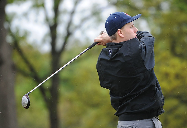 Globe/Roger Nomer<br /> Noah Graves, Joplin junior, tees off during Monday's golf tournament in Carthage.