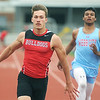 Carl Junction's Weston Wendt races to a first place finish in the 100m dash on Friday at CJHS. Also pictured is Webb City's XXX Jackson.<br /> Globe | Laurie Sisk