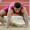 Joplin's Darrian Guiilory competes in the long jump on Friday at JHS.<br /> Globe | Laurie Sisk