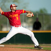 Pittsburg State's Ty Rowe throws from the mound during the Gorilla's game against Missouri Southern Missouri on Tuesday night at PSU.<br /> Globe | Laurie Sisk
