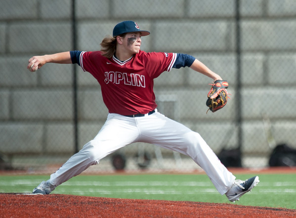 Joplin's Grant Jones throws from the mound during the Eagles' game against Rolla on Tuesday at JHS.<br /> Globe   Laurie Sisk
