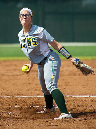 Missouri Southern's Sydney Koch throws from the circle during the Lions' game against Southwest Baptist on Tuesday at MSSU.<br /> Globe | Laurie SIsk