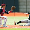 Joplin shortstop Gavin Merriman prepares to tag Willard's Brady Owen on an attempted steal during their game on Saturday at JHS.<br /> Globe | Laurie Sisk