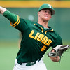Missouri Southern starter Sean Goostree throws from the mound during the Lions' game against Central Missouri on Saturday at Warren Turner Field.<br /> Globe | Laurie Sisk