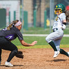 Missouri Southern's Sarah Morrison tries to beat the throw to second base on an attempted steal as Southwest Baptist's Stormy Christerson (5) waits for the throw during their game on Tuesday at MSSU.<br /> Globe | Laurie SIsk