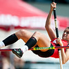 Carl Junction's Lily Pyle clears the bar in the Girls Pole Vault during the 28th Annual Jock's Nitch Gorilla Relays on Friday at Carnie Smith Stadium.<br /> Globe | Laurie Sisk