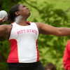 Pittsburg State's Jasmine Smith competes in the womens shot put during the Bill Williams/Bob Laptad Invitational on Friday at MSSU.<br /> Globe | Laurie Sisk