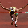 Missouri Southern's Andrew Wells leaps to victory in the high jump during the Bill Williams/Bob Laptad Invitational on Friday at Fred G. Hughes Stadium.<br /> Globe | Laurie Sisk