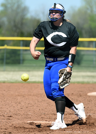 Crowder's Maddie Massanelli delivers a pitch to the plate during the Roughriders opening game of the Region XVI NJCAA Championship on Friday morning at the Joplin Athletic Complex.<br /> Globe | Laurie Sisk