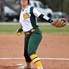 Missouri Southern's Natalie Hamm throws from the circle during the Lions' game against Lincoln on Saturday at MSSU.<br /> Globe | Laurie Sisk