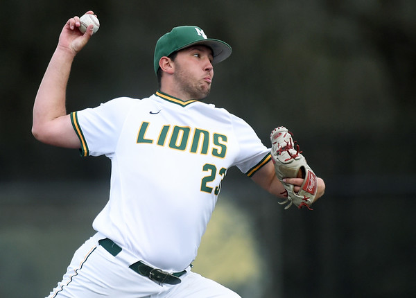 Missouri Southern's Corey Cowan throws from the mound during the Lions game against Pittsburg State on Wednesday night at Warren Turner Field.<br /> Globe | Laurie Sisk