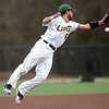Missouri Southern second baseman Easton Fortuna stretches for an out of reach ball during theLions' game against Centrl Oklahoma on Tuesday night at Warren Turner Field.<br /> Globe | Laurie Sisk