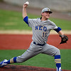 Northeastern Oklahoma's Caleb Rogge throws from the mound during the Norsemen's game against Crowder on Tuesday night at Joe Becker.<br /> Globe | Laurie Sisk