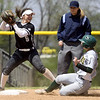 Missouri Southern second baseman Lexi Ferrari slides into the front end of a double play as Lindenwood's Megan Clark prepares to throw to first base during their game on Wednesday at Pat Lipiri Field.<br /> Globe | Laurie Sisk