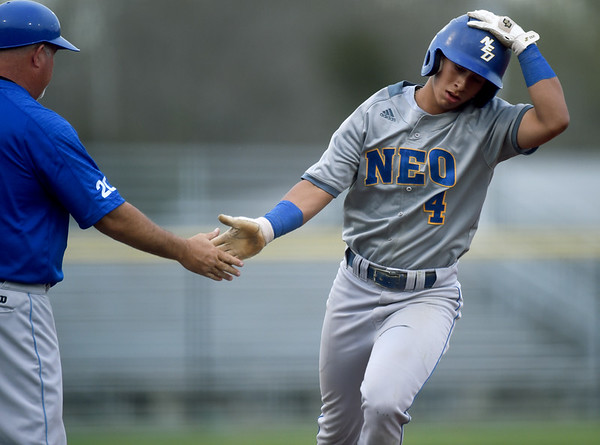 Northeastern Oklahoma's Erasmo Mavarez rounds the bases after a two-run homerun during the Norsemen's game against Crowder on Tuesday night at Joe Becker.<br /> Globe   Laurie Sisk