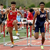 From the left: Columbus hurdler Kale Smith and Joplin's Grant Guillory compete in the 110 hurdles during the 29th Annual Jock's Nitch PSU Gorilla Relays on Friday at Carnie Smith Stadium.<br /> Globe | Laurie Sisk