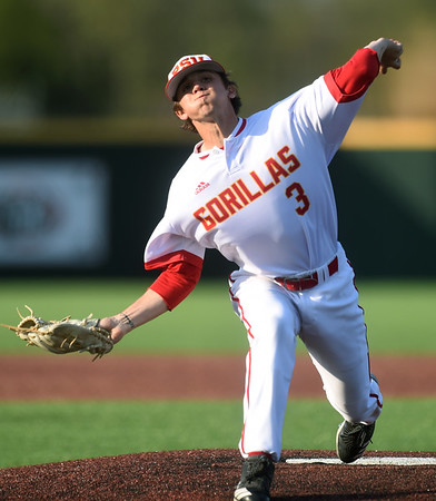 Pittsburg State's Cooper Gardner throws from the mound during the Gorillas game against Missouri Southern on Tuesday at PSU.<br /> Globe   Laurie Sisk
