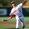 Pittsburg State's Cooper Gardner throws from the mound during the Gorillas game against Missouri Southern on Tuesday at PSU.<br /> Globe | Laurie Sisk