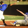 Crowder's  Freilin Cabrera completes the front end of a successful double play as Northeastern Oklahoma's Matthew Patton slides into second base during their game on Tuesday night at Joe Becker.<br /> Globe | Laurie Sisk