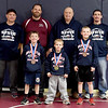 Front row, from the left: Joplin state wrestling medalists Lucas Allen (third place,) Kyler Allerton (first place,) and Wyatt Black (sixth place) pose with their coaches: Head Coach Doug Ackerson and assistant coaches Brett Schwab, Al Jensen and Uriah Allen on Wednesday at Joplin High School.<br /> Globe | Laurie Sisk