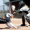 Missouri Southern catcher Angel Badalamenti awaits the throw as Lindenwood's Adele Linderman slides home safely during their game on Wednesday at Pat Lipiri Field.<br /> Globe | Laurie Sisk