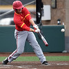 Pittsburg State's Colton Pogue swings for a lead-off homerun during the Gorillas game against Missouri Southern on Wednesday night at Warren Turner Field.<br /> Globe | Laurie Sisk