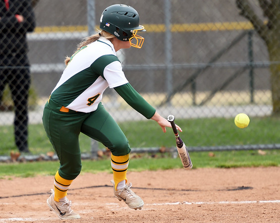 Missouri Southern senior Abi Corbett heads to first base on an rbi bunt during the Lions' game against Lincoln on Senior Day at MSSU.<br /> Globe   Laurie Sisk