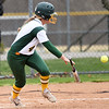 Missouri Southern senior Abi Corbett heads to first base on an rbi bunt during the Lions' game against Lincoln on Senior Day at MSSU.<br /> Globe | Laurie Sisk