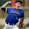 Crowder's Colten Weber delivers a pitch during the Roughriders game against Northeastern Oklahoma on Tuesday night at Joe Becker.<br /> Globe | Laurie Sisk