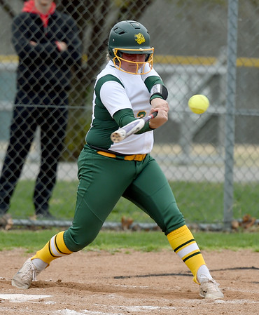 Missouri Southern's Shelby Friend connects for an rbi single to drive in fellow senior Abi Corbett on Senior Day during their game against Lincoln at MSSU.<br /> Globe   Laurie Sisk