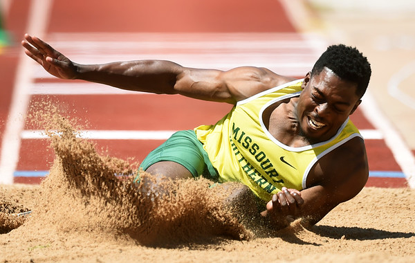 Missouri Southern's Brendan Watkins competes in the triple jump during the Bill Williams/Bob Laptad Invitational on Friday at Fred G. Hughes Stadium.<br /> Globe | Laurie Sisk