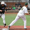 Missouri Southern first baseman Alex Phillips gets the out on Southwest Baptist's Luke Winfrey during their game on Friday night at Joe Becker.<br /> Globe | Laurie Sisk