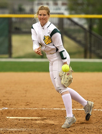Missouri Southern's Abby Atkin delivers a pitch to the plate during the second game of a doubleheader against Northwest Missouri State on Saturday at MSSU. Globe | Laurie Sisk