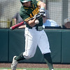 Missouri Southern's Troy Gagan (8) swings at an inside pich during the Lions game against Central Missouri on Saturday at Warren Turner Field.<br /> Globe | Laurie SIsk