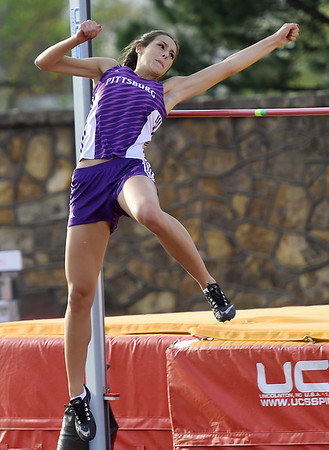 Pittsburg's Laken Robinson leaps to a first place finish in the high jump during the Gorilla Relays on Friday at Pittsburg State's Carnie Smith Stadium.<br /> Globe | Laurie Sisk