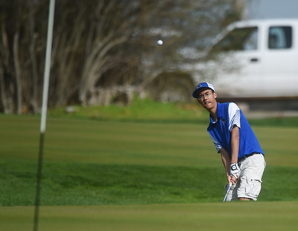 Arthur Vajeepiyanantanon, a senior at McAuley High School, chips in a shot off of the green on Monday at Schifferdecker Golf Course.<br /> Globe | Roger Nomer