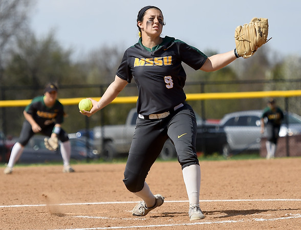 Missouri Southern's Taurean Guzman delivers a pitch to the plate during the Lions game against Southwest Baptist on Wednesday afternoon at Lea Kungle Field.<br /> Globe | Laurie Sisk
