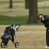 Neosho's Jace Parmley watches his chip shot make its way to the no. 9 green during the Joplin Invitational on Thursday at Twin Hills.<br /> Globe | Laurie SIsk