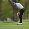Carthage's Robbie Sager putts on Monday at Briarbrook Golf Course.<br /> Globe | Roger Nomer