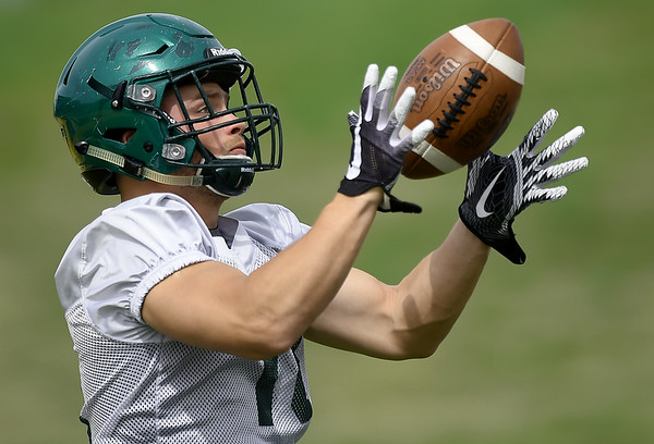 Missouri Southern receiver Carson Day runs through drills on Tuesday at Fred G. Hughes Stadium.<br /> Globe   Laurie Sisk